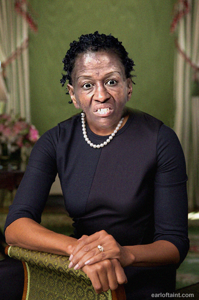 portrait of Michelle Obama before makeup