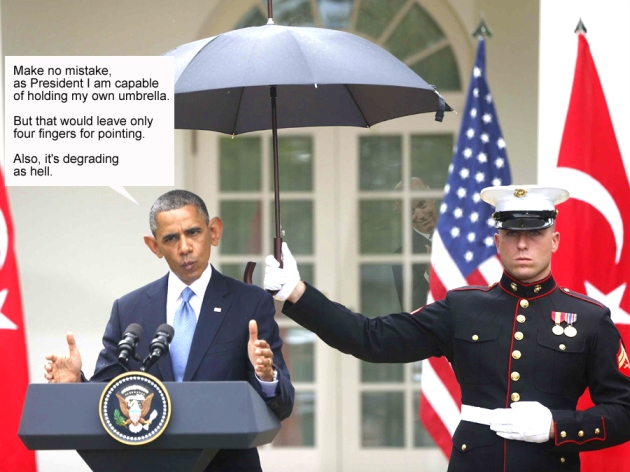marine holds obama umbrella