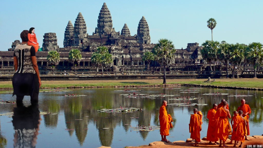 They wade over to historical masterpiece Angkor Wat. FLOTUS is on the left.