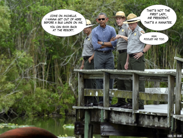 POTUS visits an Everglades swamp in Florida. /FILE PHOTO