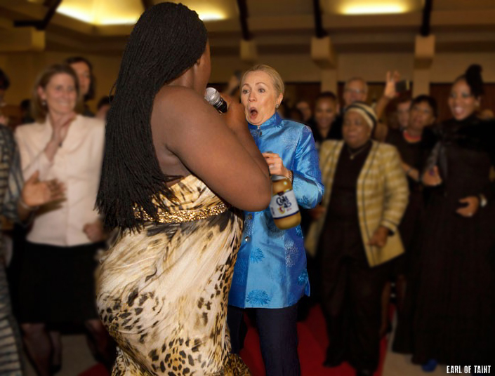 """The former Secretary shown here shimmying up to the event's entertainer, a 6'2"""" transgender woman performing under the name  LaQueefa Anya Bona"""