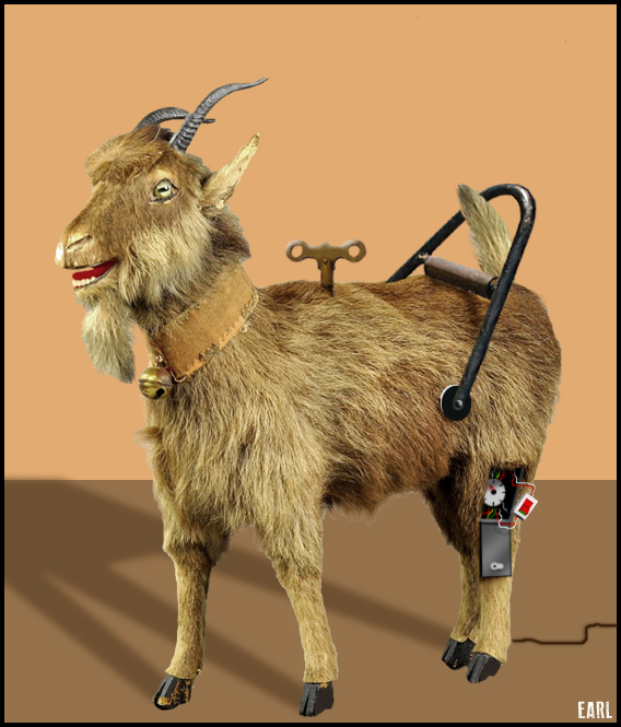 """The Sultan's Mechanical Goat"". Iranian. Antique circa 1888. Originally powered by key-wound spring, converted to AC electric motor 1978."