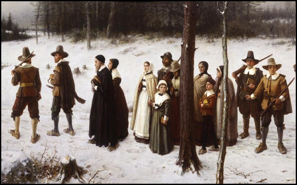 pilgrims to church